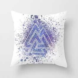 Viking Valknut Space Dust Throw Pillow