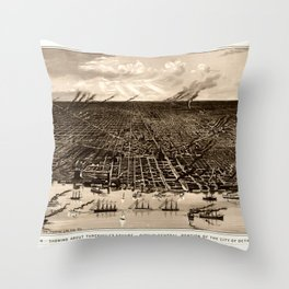 Detroit Michigan Bird's Eye Map Throw Pillow