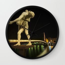 Lyon Bridge Statue by night Wall Clock