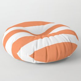 Smashed Pumpkin - solid color - white stripes pattern Floor Pillow
