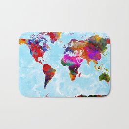 World Map - 3 Bath Mat