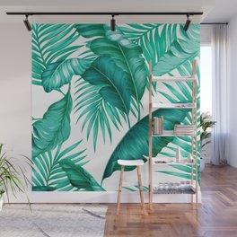 HAWAIIAN GARDEN TROPICAL LEAVES | turquoise white Wall Mural