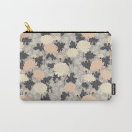 Peony Flower Grey Carry-All Pouch