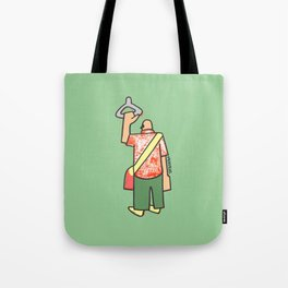a man going to work to fill up the voids Tote Bag