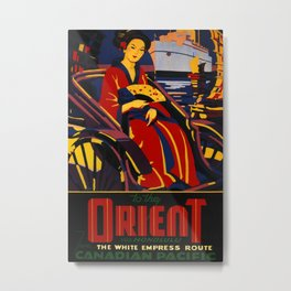 To the Orient via Honolulu Vintage Travel Poster Metal Print