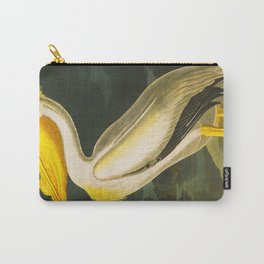 White Pelican Vintage Floral Botanical Animal Bird Art Carry-All Pouch