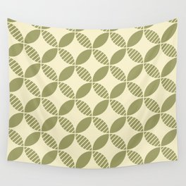 Mid Century Modern Geometric Flower Pattern Olive and Cream Wall Tapestry