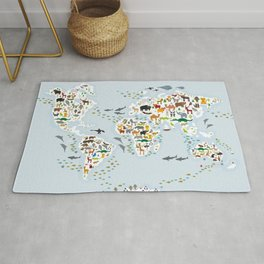 Cartoon animal world map for children and kids, Animals from all over the world, back to school Rug