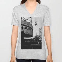 Berlin Alexanderplatz black and white photography Unisex V-Neck