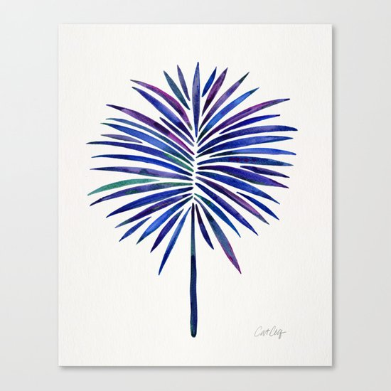 Tropical Fan Palm – Indigo Canvas Print
