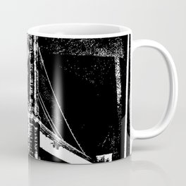Sketched Brooklyn Bridge White on Black Coffee Mug