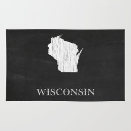 Wisconsin State Map Chalk Drawing Rug