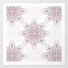Feathers, Geometric Pattern in Mauve and Grey Art Print