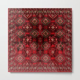 N129 - Epic Royal Red Oriental Traditional Moroccan Style Fabric Design  Metal Print