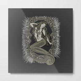 Neo Classic Mermaid Siren Sepia Metal Print