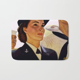 Vintage poster - Enlist in the Waves Bath Mat