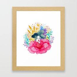 Floral Girl Framed Art Print