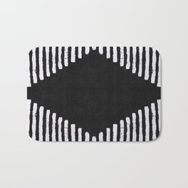 Diamond Stripe Geometric Block Print in Black and White Bath Mat
