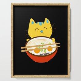 Kawaii Anime Cat Shirt - Funny Adorable Japanese Illustration Serving Tray