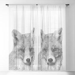 Black and White Fox Sheer Curtain