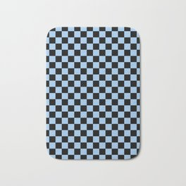 Black and Baby Blue Checkerboard Bath Mat