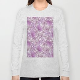 Pastel lilac pink watercolor tropical palm tree leaves Long Sleeve T-shirt