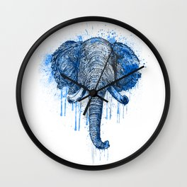 Blue Watercolor Elephant Head Wall Clock