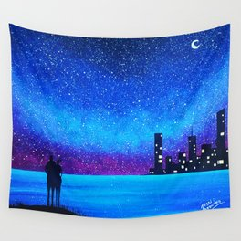 Far city under the stars Wall Tapestry