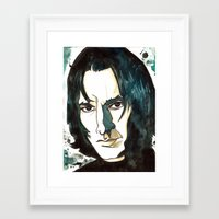 snape Framed Art Prints featuring Professer Snape by Boni Dutch