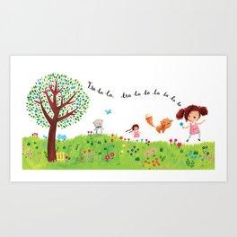 Skipping Art Print