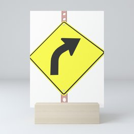 """""""Curve"""" - 3d illustration of yellow roadsign isolated on white background Mini Art Print"""