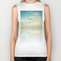 never stop exploring Biker Tanks featuring Never Stop Exploring III by Monika Strigel