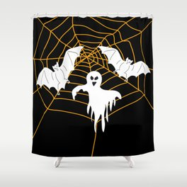 Bats and Ghost white - black color Shower Curtain