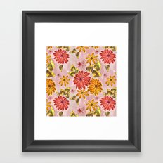 Pink, orange flowers. Framed Art Print