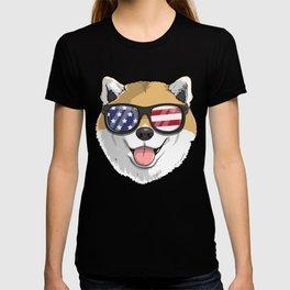Patriotic Shiba Inu Dog Merica American Flag T-shirt