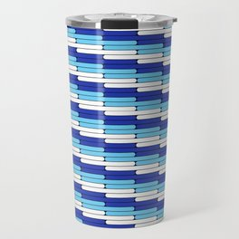 Staggered Oblong Rounded Lines Blues and White - Stripe Pattern Travel Mug