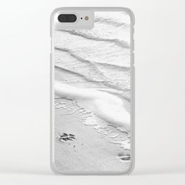 Black and White Beach Ocean Photography, Dog Paw Prints, Grey Water Ripples, Gray Sea Coastal Photo Clear iPhone Case