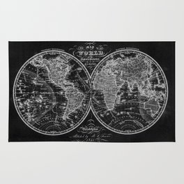 Black and White World Map (1842) Inverse Rug