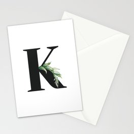 Letter K Initial Floral Monogram Black And White Poster Stationery Cards