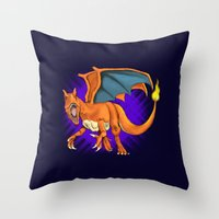 charizard Throw Pillows featuring Charizard by Aliece Carney
