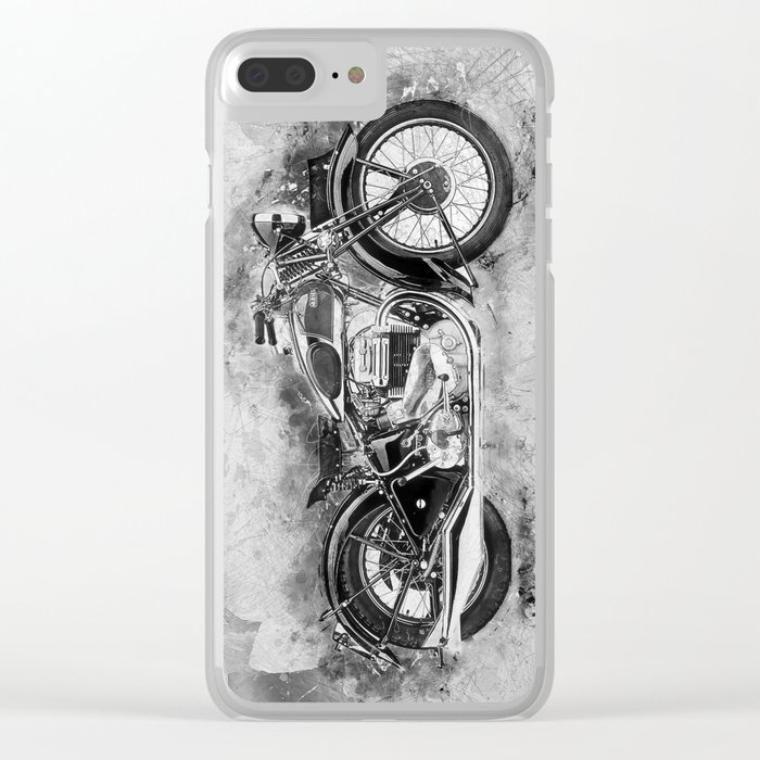 Vintage Motorcycle No2 Clear iPhone Case