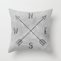 Map Compass - Forest Trees North East West South Compass Black and White Adventure Throw Pillow