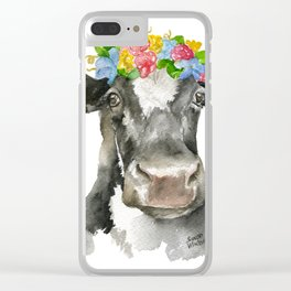 Black and White Cow with Floral Crown Watercolor Painting Clear iPhone Case