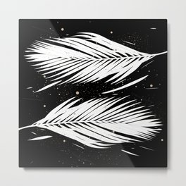 Boho Palm Leaves on Black Metal Print