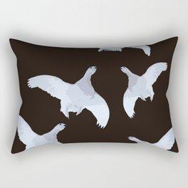 White Willow grouse Birds On A Black Background #decor #buyart #society6 Rectangular Pillow