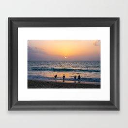 Fun on the beach Framed Art Print