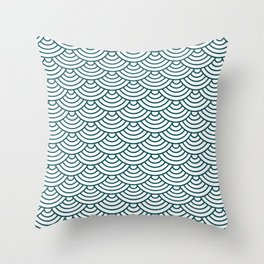 Teal Blue Japanese wave pattern Throw Pillow
