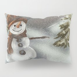 Happy Snowman In The Snow Pillow Sham