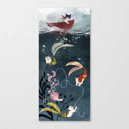 """Catfish"" - cute fantasy cat mermaids illustration Canvas Print"