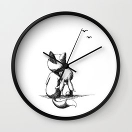 Fox and a rabbit Wall Clock
